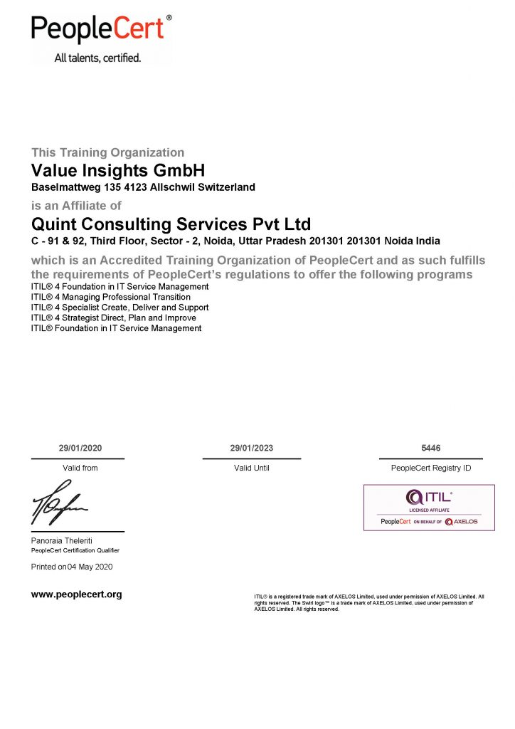 accredited official itil 4 training trainer affiliate company organization people cert axelos quint value insights