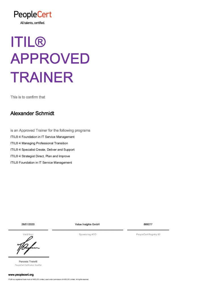 accredited official itil 4 training trainer affiliate company organization people cert axelos quint value insights alexander schmidt