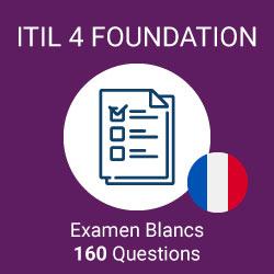 160 questions d'examen simulé ITIL 4 Foundation préparées par Value Insights, regroupées en 4 examens distincts de 40 questions chacun pour simuler l'examen officiel ITIL 4 Foundation.
