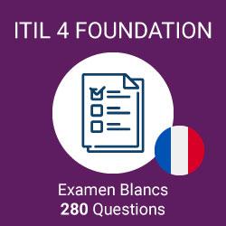 280 questions d'examen simulé ITIL 4 Foundation préparées par Value Insights, regroupées en 4 examens distincts de 40 questions chacun pour simuler l'examen officiel ITIL 4 Foundation.