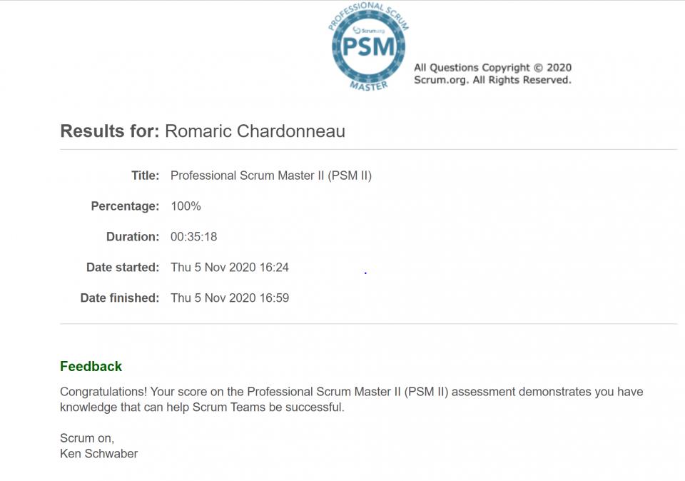 PSM II - 100% achievement psm 2 professional scrum master switzerland scrum.org romaric chardonneau