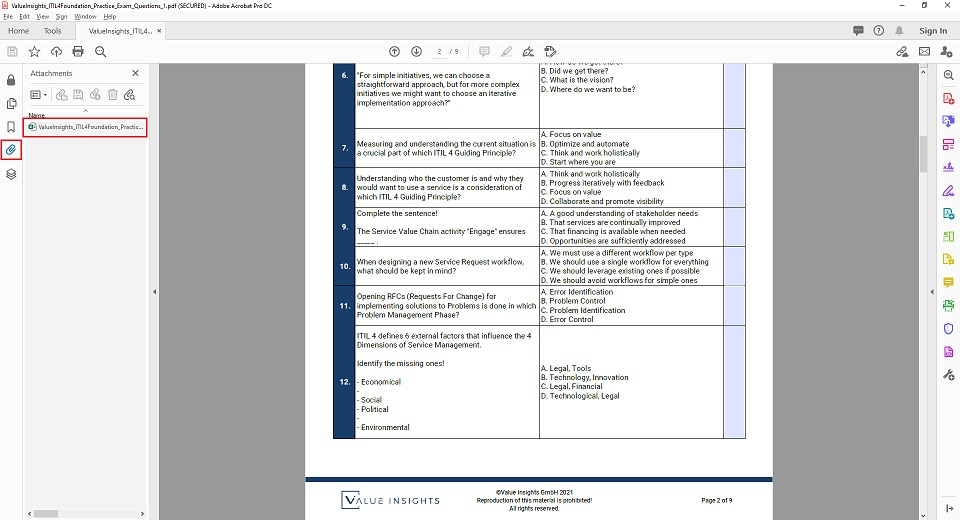 itil 4 foundation exam preparation practice mock questions value insights