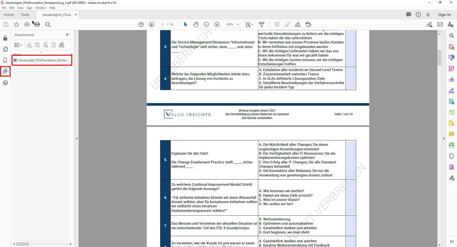 itil 4 foundation Prüfungsvorbereitung Übungsfragen value insights