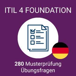 280 von Value Insights vorbereitete ITIL 4 Foundation Prüfungsfragen zum Üben, gebündelt in 7 separaten Prüfungen mit jeweils 40 Fragen zur Simulation der offiziellen ITIL 4 Foundation Prüfung