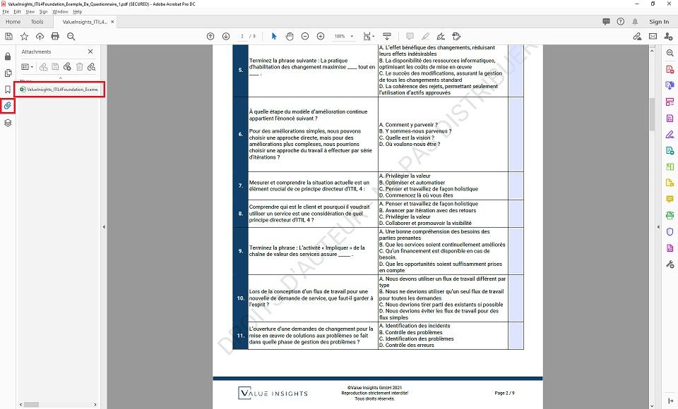 itil 4 préparation à l'examen de base pratique des questions fictives aperçu des valeurs